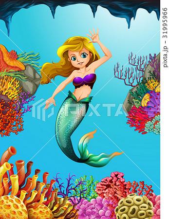 Pretty mermaid swimming underwater 31995966