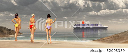 Attractive women at the beach and cruise ship 32003389