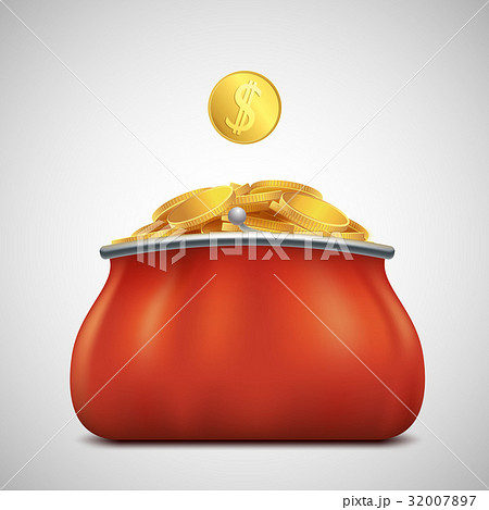 Heap of gold coins in a purse. Profit and revenue. 32007897