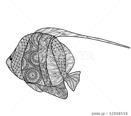 fish with ornamental pattern marine life signのイラスト素材