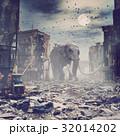 都会 崩れた 象のイラスト 32014202