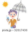 外出 日傘 水のイラスト 32017430