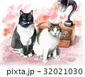 猫 動物 アンティークのイラスト 32021030