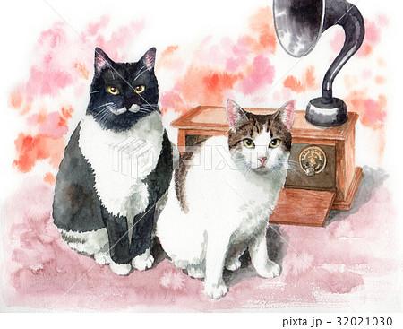 アンティークラジオと猫2匹 32021030