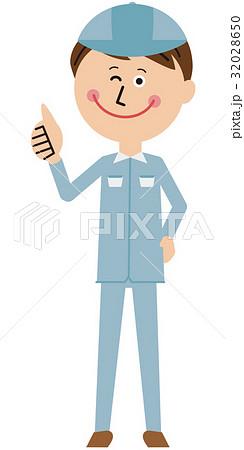 ポップな青い制服の作業員 いいね! 32028650