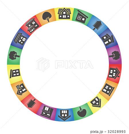 家と木のサークル(虹色背景シルエット)のイラスト素材 [32028993] - PIXTA