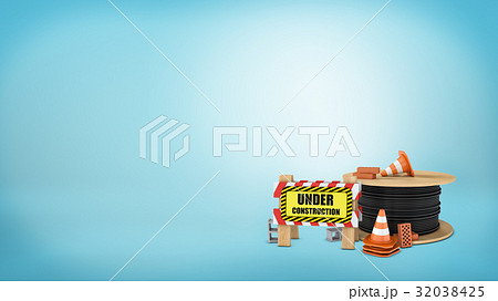 3d rendering of a several traffic cones, red and 32038425