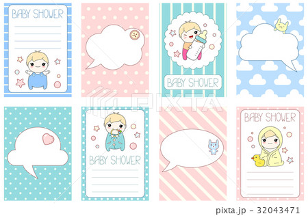 set of birthday banners with cute babyのイラスト素材 32043471 pixta