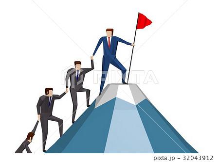 仲間で協力して山を登るビジネスマン 32043912