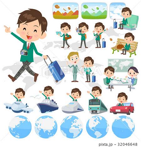 school boy Green Blazer travel 32046648