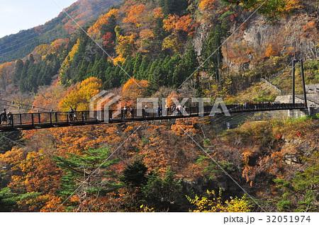 鬼怒川温泉 鬼怒楯岩大吊橋と紅葉に覆われた山並み 32051974