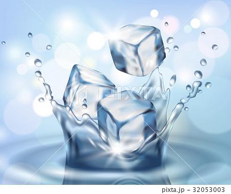 Realistic 3d ice cube falling in water splashのイラスト素材 [32053003] - PIXTA