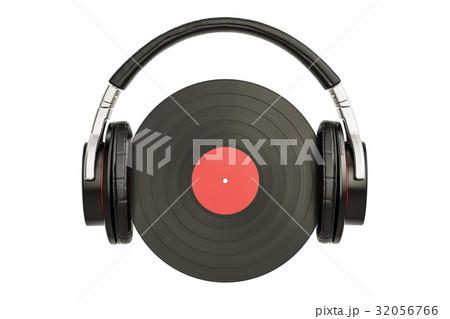 Headphones with vinyl record, 3D rendering 32056766