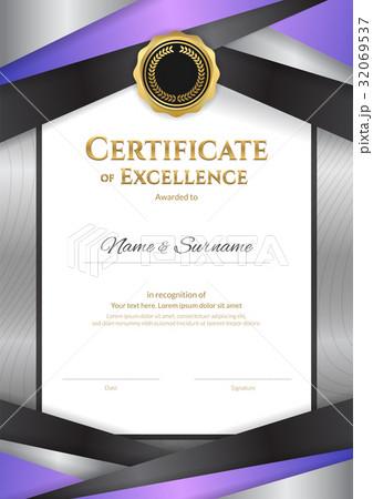 portrait luxury certificate template elegant frameのイラスト素材