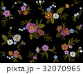 Seamless pattern of flowers on a black  32070965