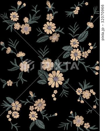Seamless pattern of flowers on a black 32070966