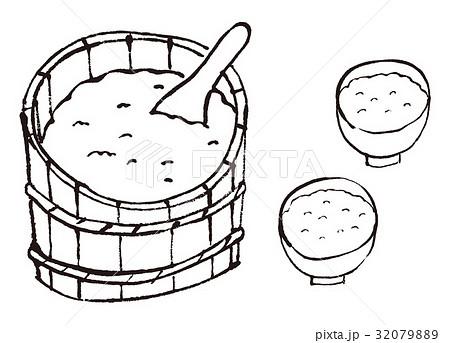おひつ 茶わん ご飯 水彩画 32079889