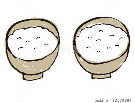 ごはん 茶碗 水彩画 32079892