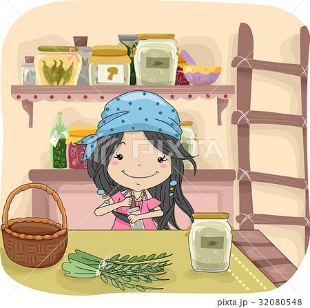 Kid Girl Mixing Herb 32080548