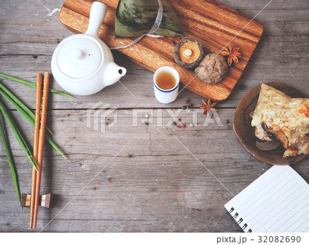 Zongzi chinese food with blank notepadの写真素材 [32082690] - PIXTA