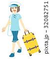 一人旅 夏 女性のイラスト 32082751