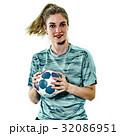 young teenager girl woman Handball player isolated 32086951
