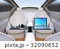自動運転車の対面式シートレイアウト。収納式テーブルにノートPC。モバイルオフィスのコンセプト 32090652