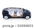自動運転車の対面式シートレイアウト。収納式テーブルにノートPC。モバイルオフィスのコンセプト 32090653