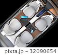 自動運転車の前列シートが後ろに向かい、収納式テーブルにノートPC。モバイルオフィスのコンセプト 32090654