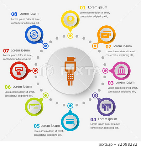 Infographic template with payment icons 32098232