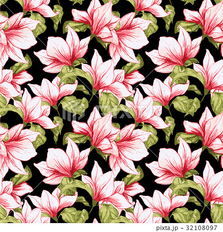 seamless pattern with magnolia flowers on theのイラスト素材