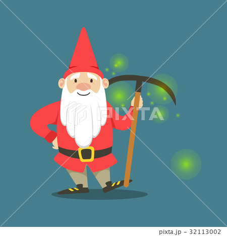 Cute dwarf in a red jacket and hat standing with 32113002
