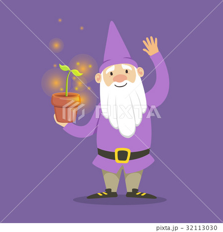 Cute dwarf in a purple jacket and hat standing 32113030