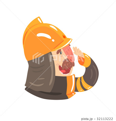 Firefighter in safety helmet and protective suit 32113222
