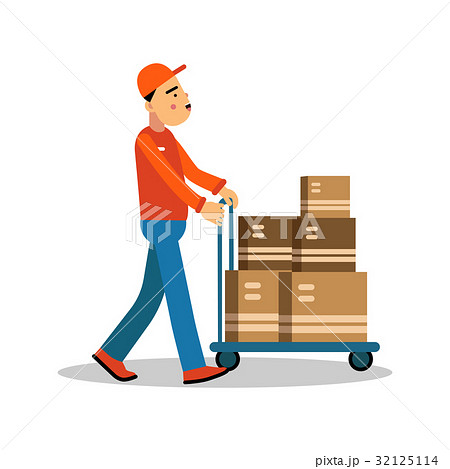Delivery man carrying boxes on a hand truck 32125114