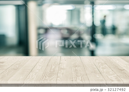Rustic wooden table vintage style in perspective 32127492