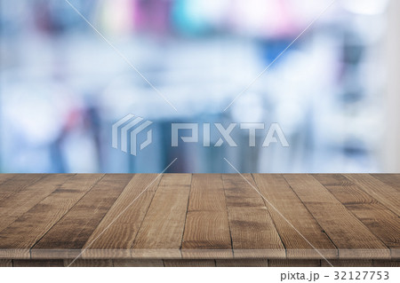 Rustic wooden table vintage style in perspective 32127753