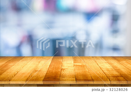 Rustic wooden table vintage style in perspective 32128026