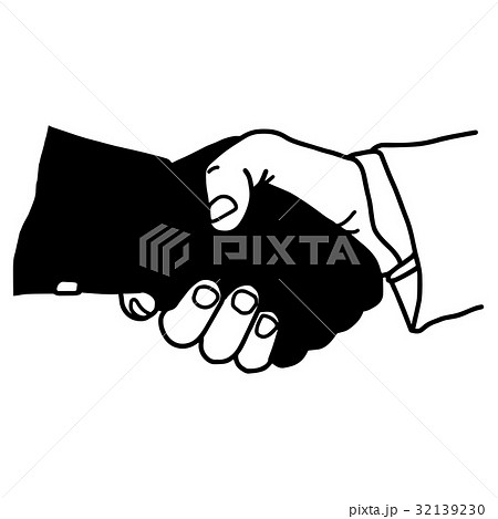 hand shaking with dark hand dangerous partnerのイラスト素材