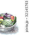 たらいで冷やしている野菜の暑中見舞いハガキ 32145763