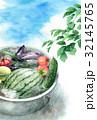 たらいで冷やしている野菜と夏空の暑中見舞いハガキ 32145765