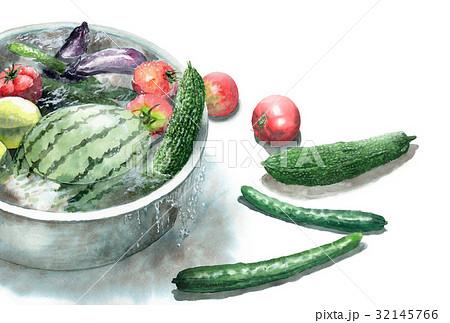 たらいで冷やしている野菜の暑中見舞いハガキ 32145766