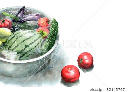 たらいで冷やしている野菜の暑中見舞いハガキ 32145767