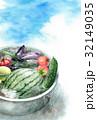 たらいで冷やしている野菜の暑中見舞いハガキ 32149035
