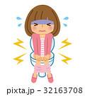 女性 トイレ 便秘のイラスト 32163708