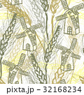 Ink hand drawn wheat seamless pattern with mills 32168234