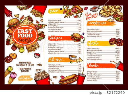 fast food restaurant menu brochure template designのイラスト素材
