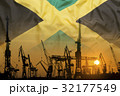 Industrial concept with Jamaica flag at sunset 32177549