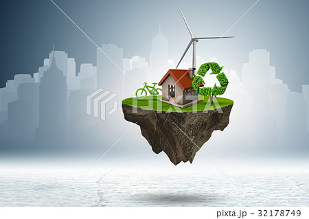 Flying floating island in green energy concept - 32178749