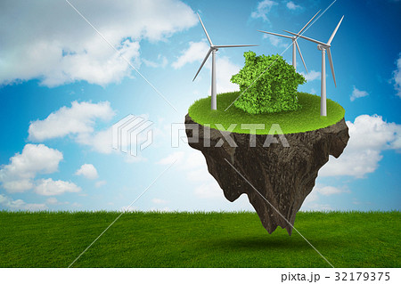 Flying floating island in green energy concept - 32179375